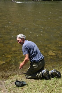 Jim getting refreshed in Salmon River