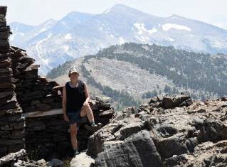 Lynn in front of Miner's Cabin
