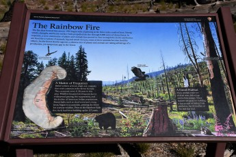 Interpretive sign on trial about the Rainbow Fire