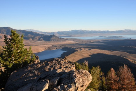 Looking towards Mono Lake in background and Grant Lake in foreground from the summit