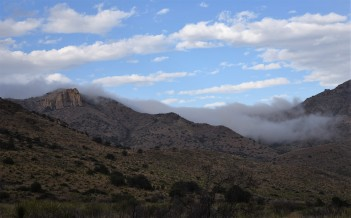 Fog rolling over the hills as we hiked out!