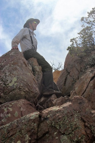 Jim rock scrambling up to the summit!