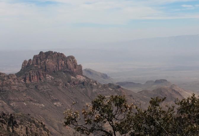 Hazy view towards the desert floor