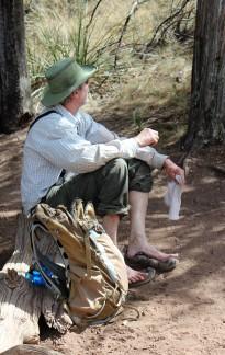 Jim resting his feet on Emory Peak hike 2014