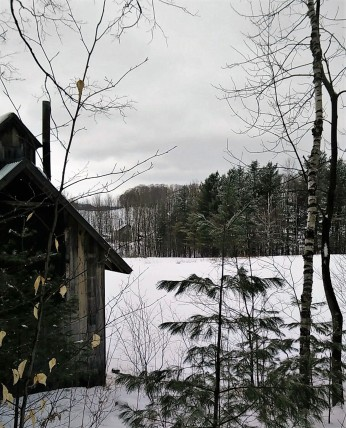 Sugar house and pond - what a gray day!