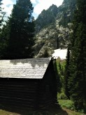 Historic cabin at the Alaska Basin trail junction