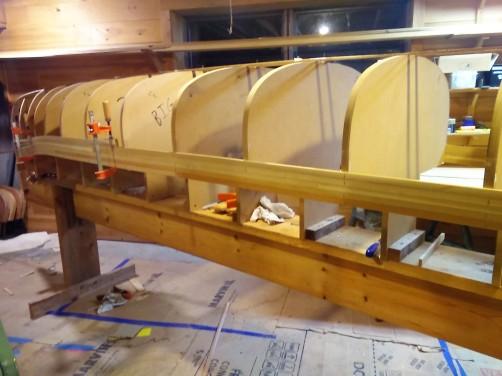new cedar strip boat under construction