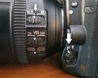 Nikon's Auto-focus settings - on camera body and lens