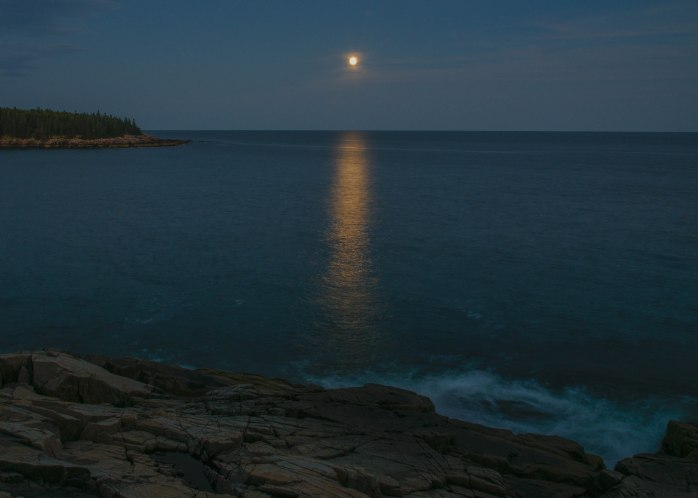 Harvest Moon rising near Otter Point (1 of 1)