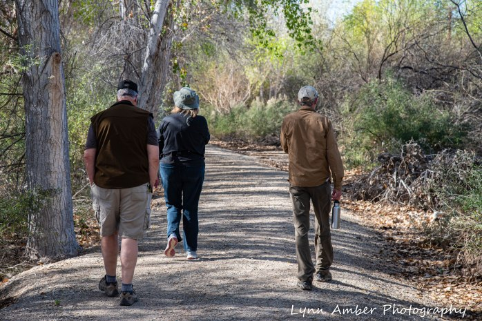 Cibola National Wildlife Refuge Harry Vicki Jim walking the Nature Trail